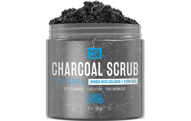 M3 Naturals Activated Charcoal Scrub Infused with Collagen and Stem Cell