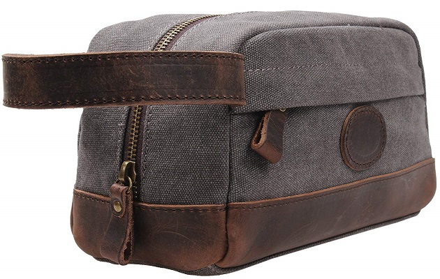 TINTAO Vintage Leather Canvas Travel Toiletry Bag