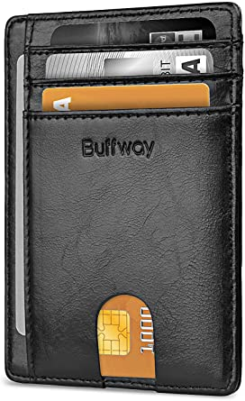 Buffway Slim Minimalist Front Pocket RFID Blocking Leather Wallets for Men