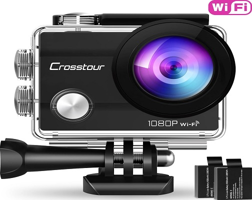 Crosstour Action Camera 1080P Full HD Wi-Fi 12MP Waterproof Cam
