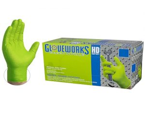 AMMEX Gloveworks HD Industrial Green Nitrile Gloves